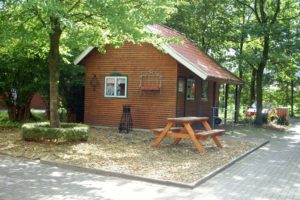Ein kleines gemütliches Holzhäuschen mitten in der Natur mit einem kleinen Vorgarten und einer Holzbank